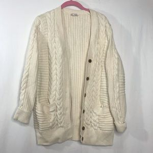 Gap Chunky Cable Knit Cream Cardigan Sweater Large